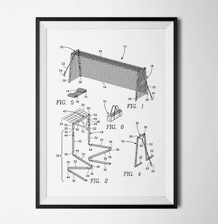 Bild av Konstgaraget Patent fotbollsmål vit poster