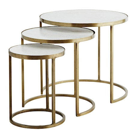 Three marble brass soffbord - Set om 3