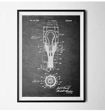 Patent lamp black poster