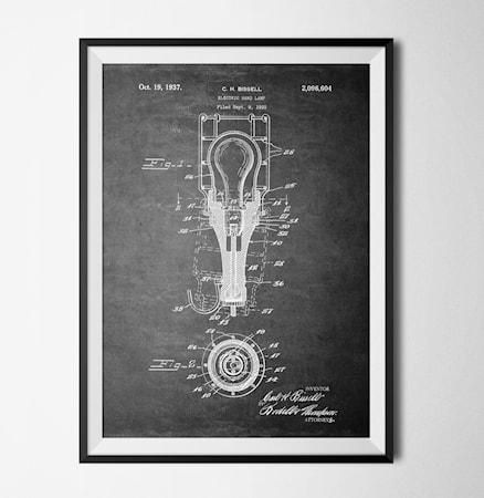 Bild av Konstgaraget Patent lamp black poster