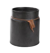 Kruka m läderband d17 h21 cm, grå