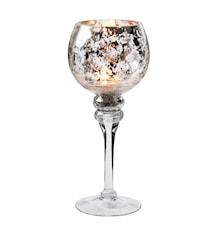 Ljuslykta glas silver mönster höjd 30 cm