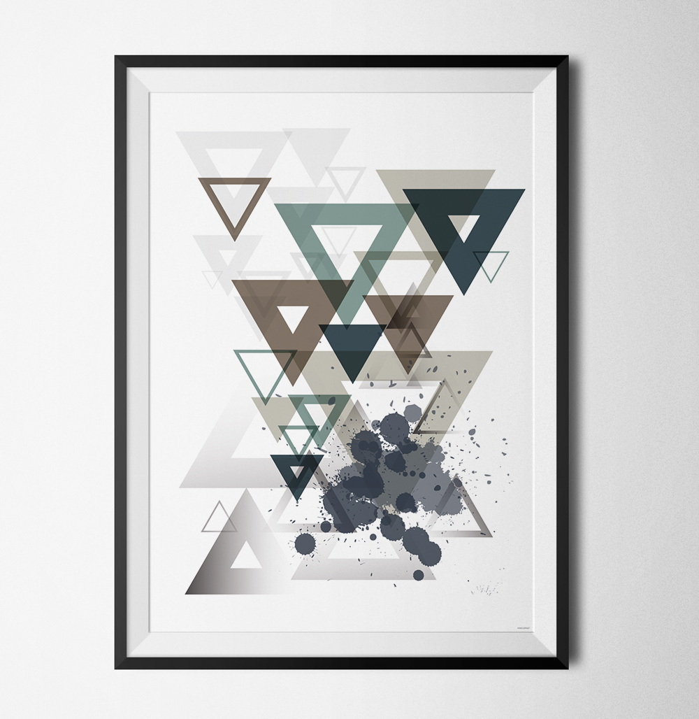 Blue geometry 1 poster