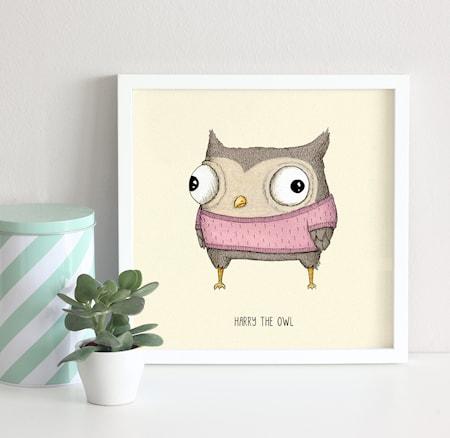 Bild av A Grape Design Harry the owl poster