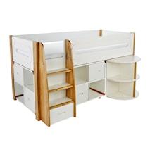 Curve Loftsäng med utdragbart skrivbord och skåpsförvaring - Vit
