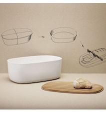 Rig-Tig Brødkorg med skjærebrett, hvit