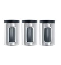 Förvaringsburk med fönster 1.4 Ltr x 3 Brilliant Steel