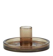 Ljusstake Glas Rök 10x4,5 cm
