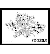 Stockholmskartan poster - Vit