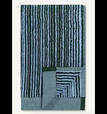 Varvunraita Gästhandduk Ljusblå/Mörkgrön
