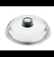 Glaslock med svart knopp Ø 24 cm