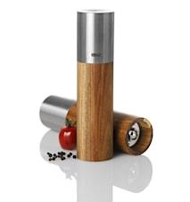 GOLIATH MIDI - Manuell, keramisk salt-/pepparkvarn i rostfritt stål och akacieträ