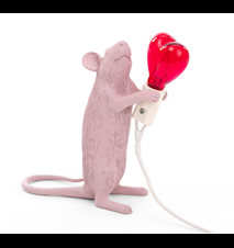 Mouse Lamp Standing Valentine´s day - Rosa