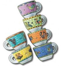Arca di Noè espressokoppar med fat 6-pack