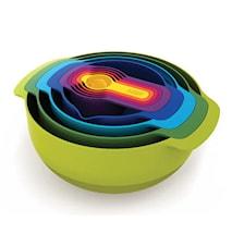 Nest 9 tiltilberedningsskålsæt med målebæger flere farver