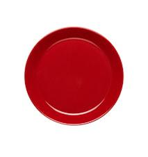 Höganäs Keramik assiett 20 cm med kant äppelröd blank