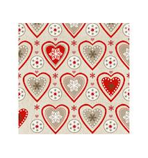 Servett Hjärta 33x33 cm 20-pack