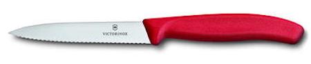 Victorinox Grönsak- & skalkniv 10 cm rött handtag, vågig & rund spets