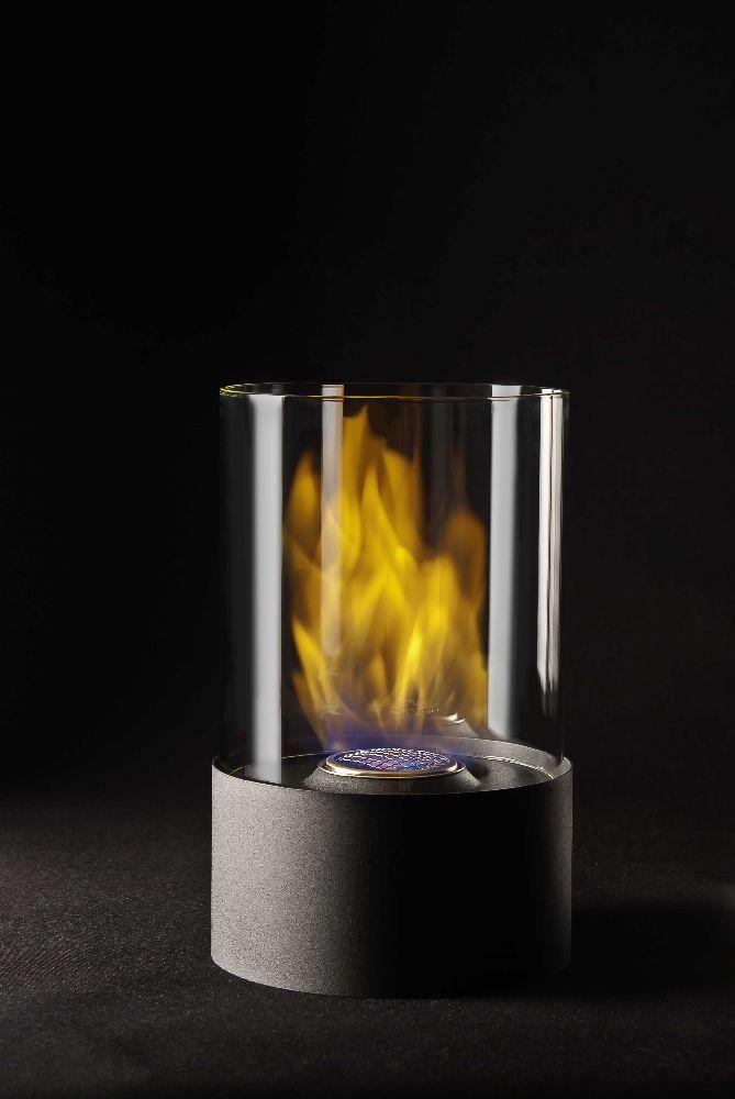 Lykta rund svart bioetanol höjd 28 cm