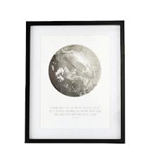 Moon veggdekorasjon inkl. ramme