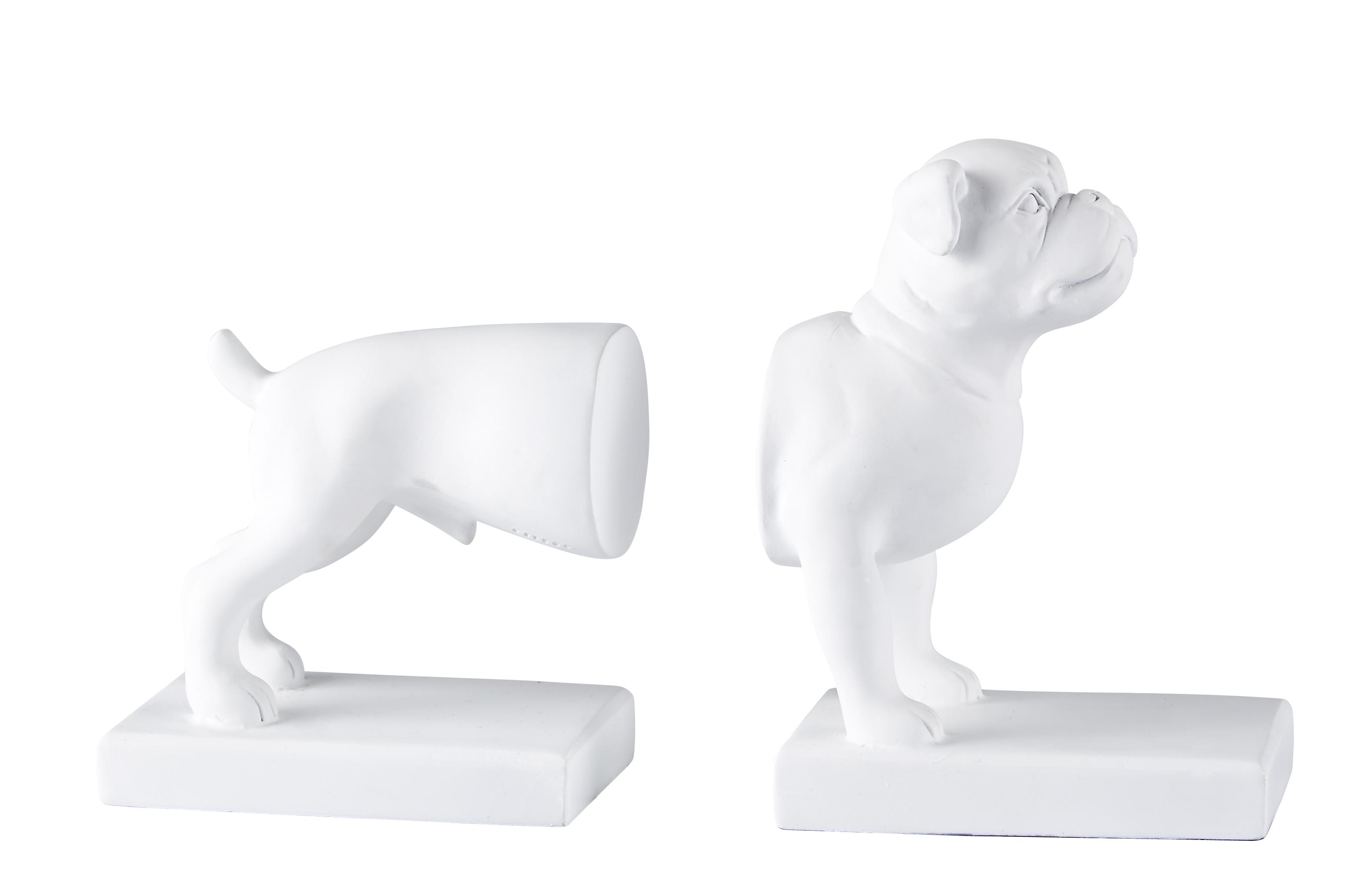 Bokstöd Hund Vit 18x26 cm