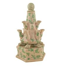 Tulpanvas, 38 cm, krackelerad med gröna växter och fjärliar