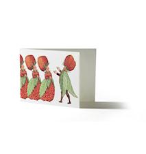 Elsa Beskow Kort med kuvert Familjen Jordgubbe