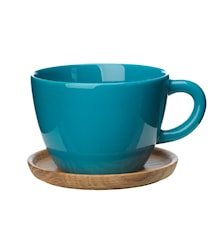 Höganäs Keramik temugg + träfat 50 cl sjögrön blank