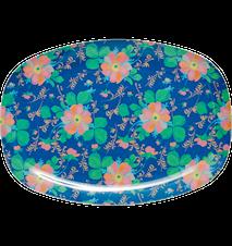 Tallerken Melamin Blå Blomster 30x22 cm