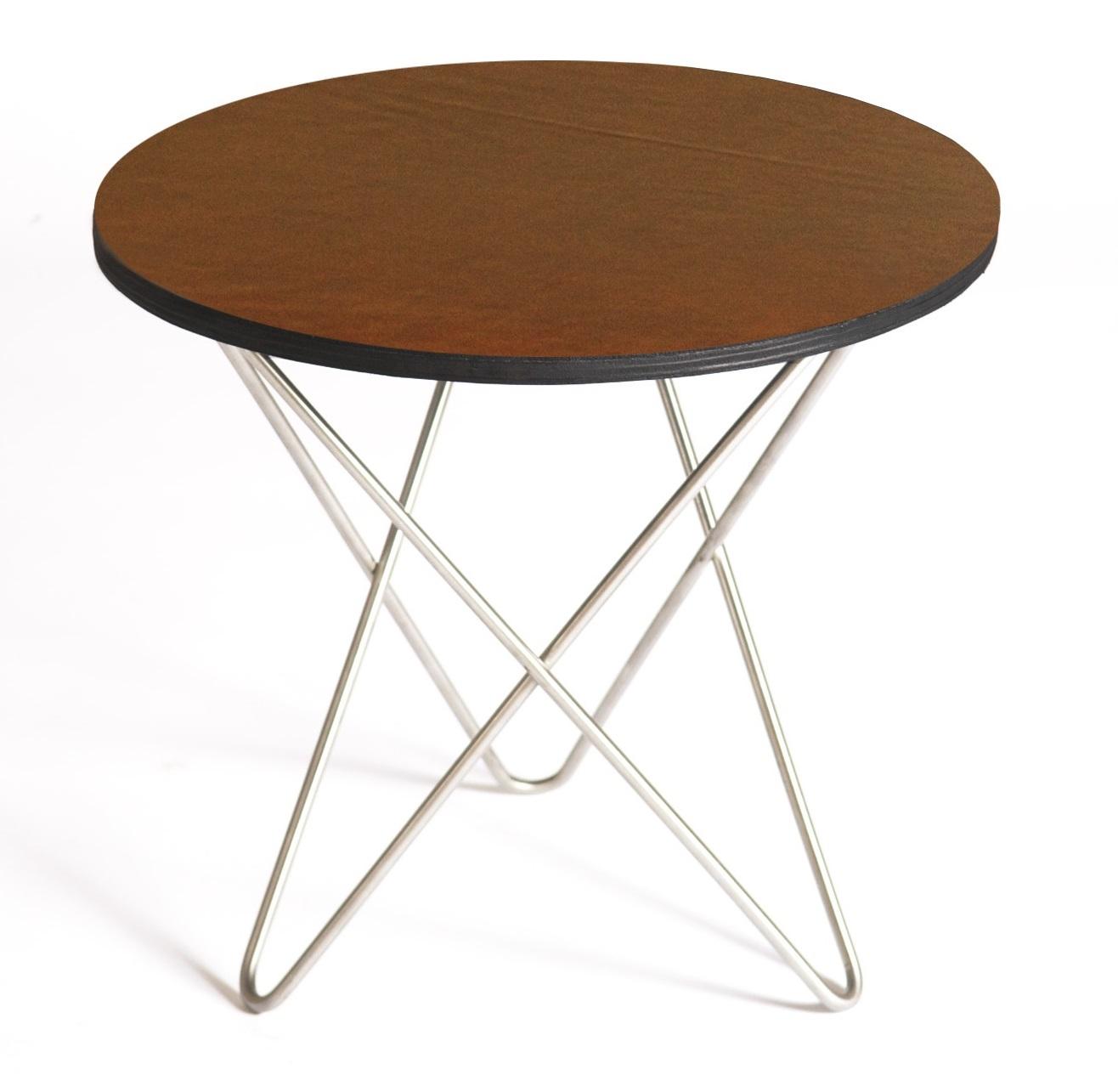 Mini o-table leather sidobord