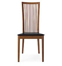 Philadelphia stol – Valnöt, svart läder