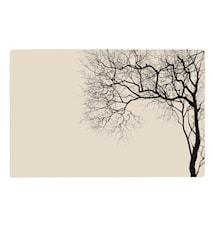 Dækkeserviet - m. træ - PP - Sand - Sort - L 44,0cm - B 28,5cm - Stk. - Stk.
