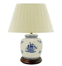 Lampfot, 17,5cm, skepp, blåvit