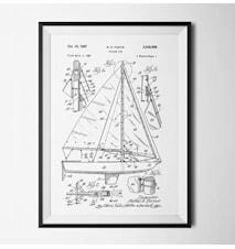 Patent segelbåt vit poster