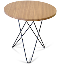 Tall mini O table wood - Oak, black frame