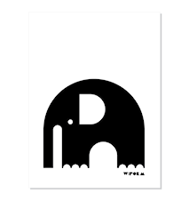 Elephant poster – Svart/vit