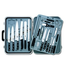 Kockväska, stor, 24 del smidda knivar med nylonhandtag
