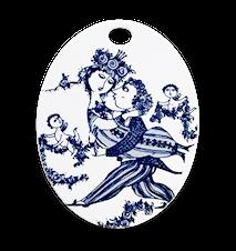 Oval platta, Victoire, blå, 15x19 cm