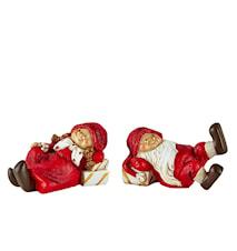 Juldekoration med ask Polyresin 2-pack Röd 9x5,5 cm