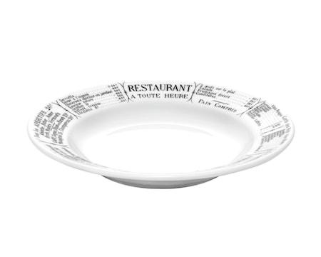Brasserie tallrik djup vit/svart 23 cm