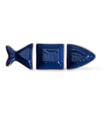Fish serveringsskål 3 delar, blå