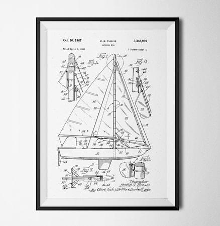 Bild av Konstgaraget Patent segelbåt vit poster