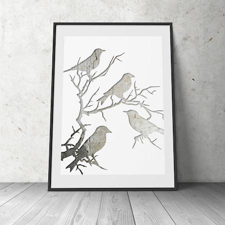 Bild av Konstgaraget Birds in tree poster