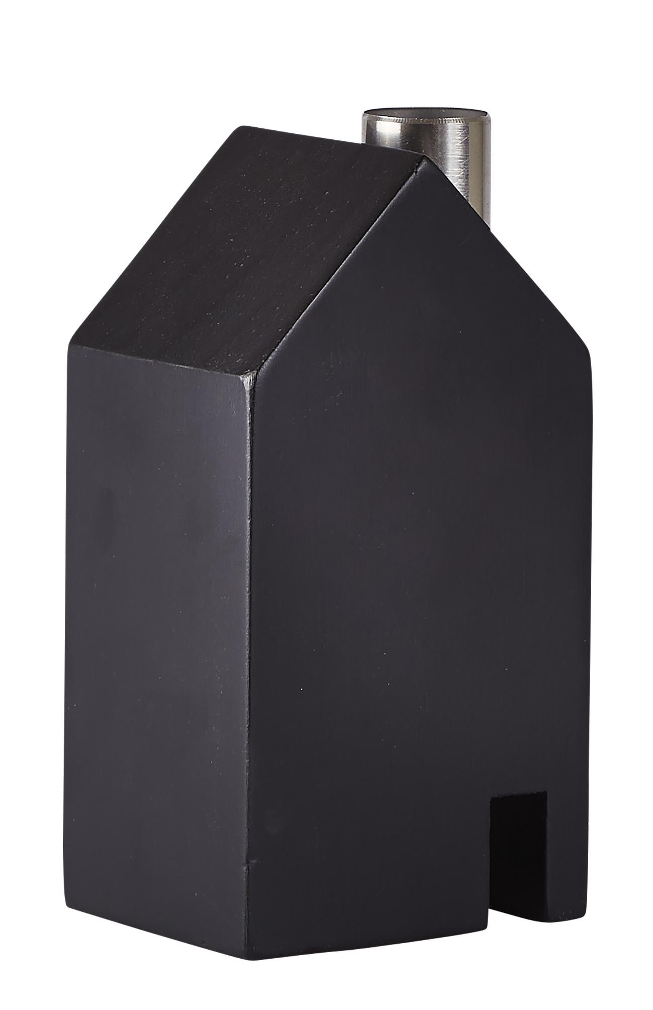 Figur Hus Metall/Svart 14 cm