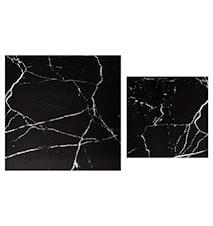 Stella Toppskive, satsbord, , svart marmorglass (sett med 2)