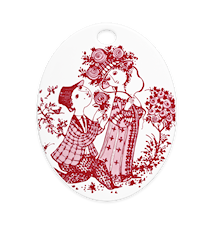 Oval platta, Roses, röd, 15x19 cm