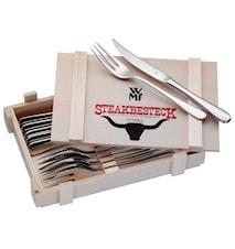 Steakbestikk/Grillbestikk 12 deler Blank Stål
