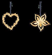 Blomsterhjärta och Julros, 6 cm, förgyllt
