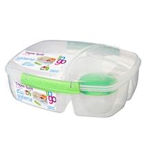 2L Triple Split Lunch Box To Go with Yogurt Pot