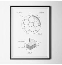 Patent fotboll vit poster